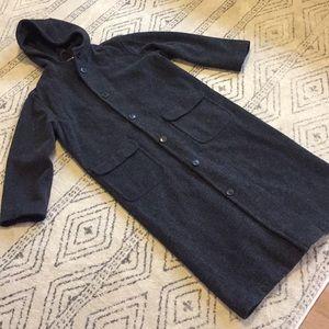 Floor Length Hooded Long Wool Coat Small